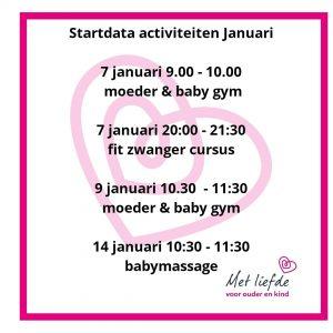 Startdata januari
